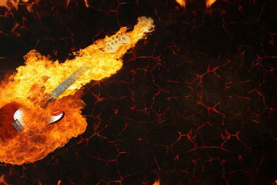 guitar, fire, lava